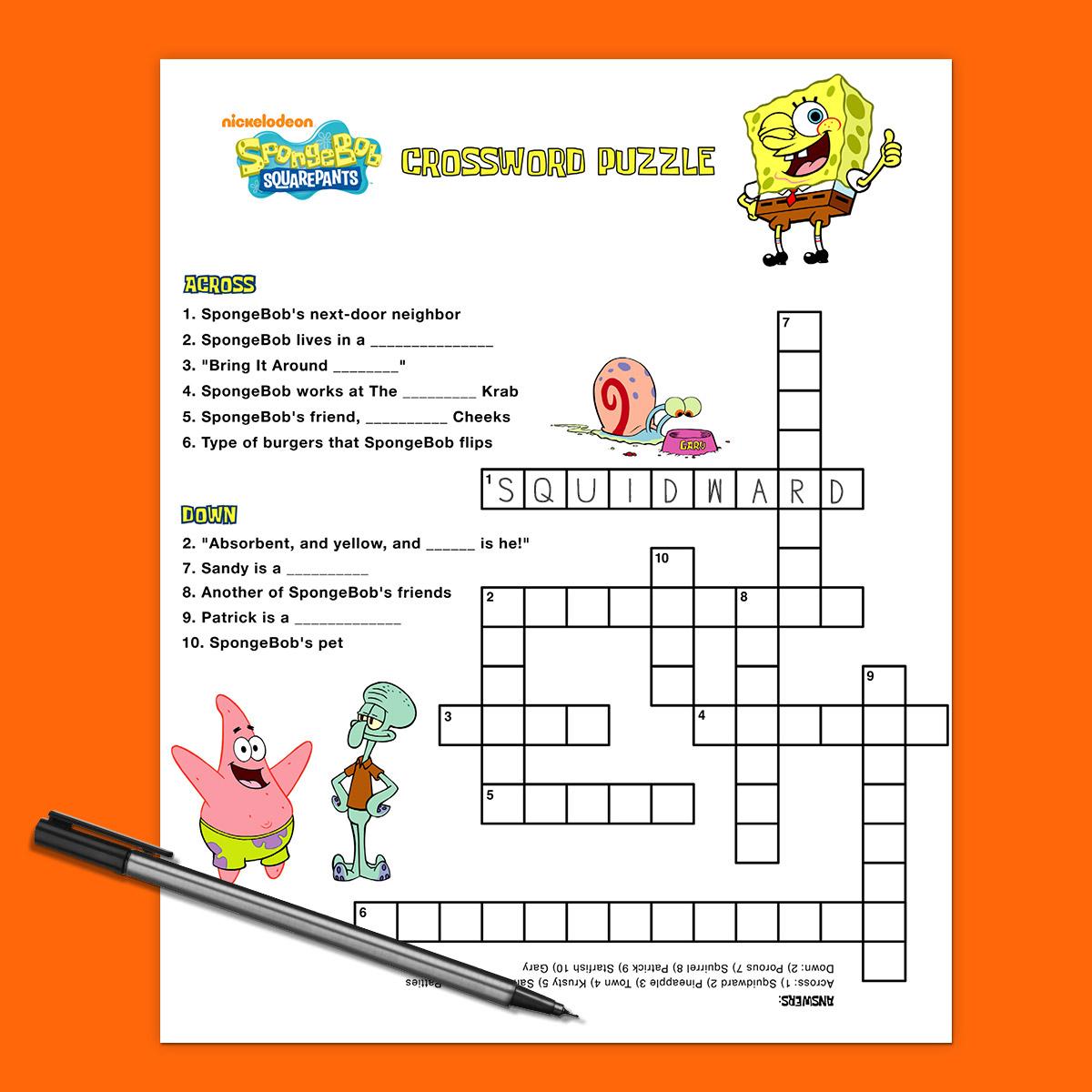 Spongebob Crossword Puzzle | Nickelodeon Parents - Birthday Crossword Puzzle Printable
