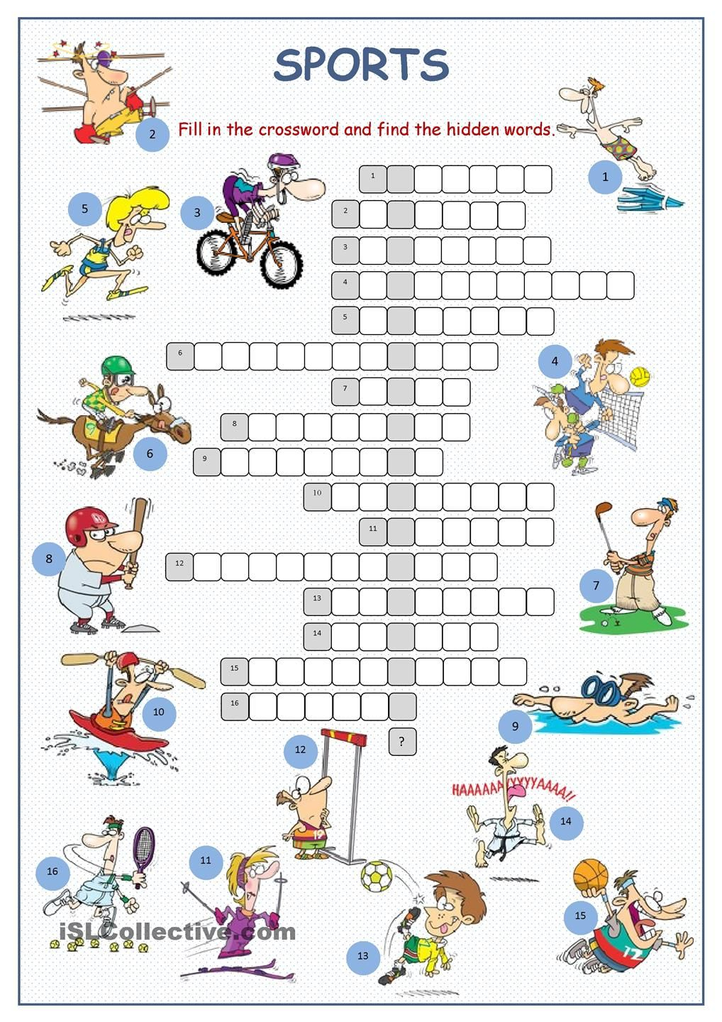 Sports Crossword Puzzle | English | Sports Crossword, Sport English - Printable Sports Crossword Puzzles With Answers