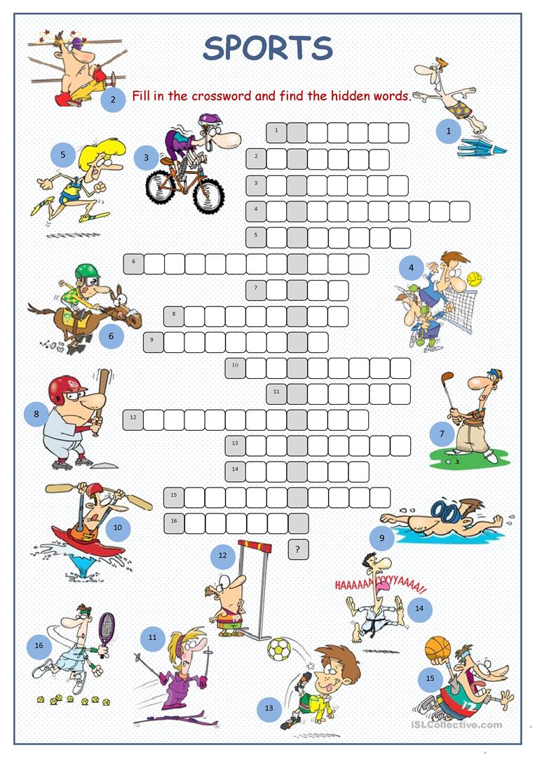 Sports Crossword Puzzle Worksheet - Free Esl Printable Worksheets - Printable English Crossword Puzzles With Answers
