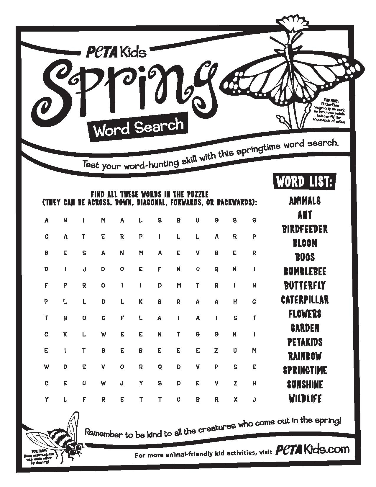 Spring Bugs Word Search | Activities | Peta Kids - Printable Spring Puzzles