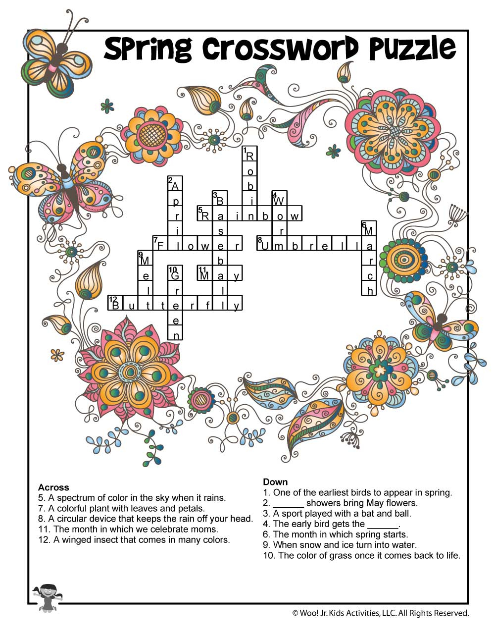 Spring Crossword Puzzle For Kids - Answer Key   Woo! Jr. Kids Activities - Printable Crossword Spring