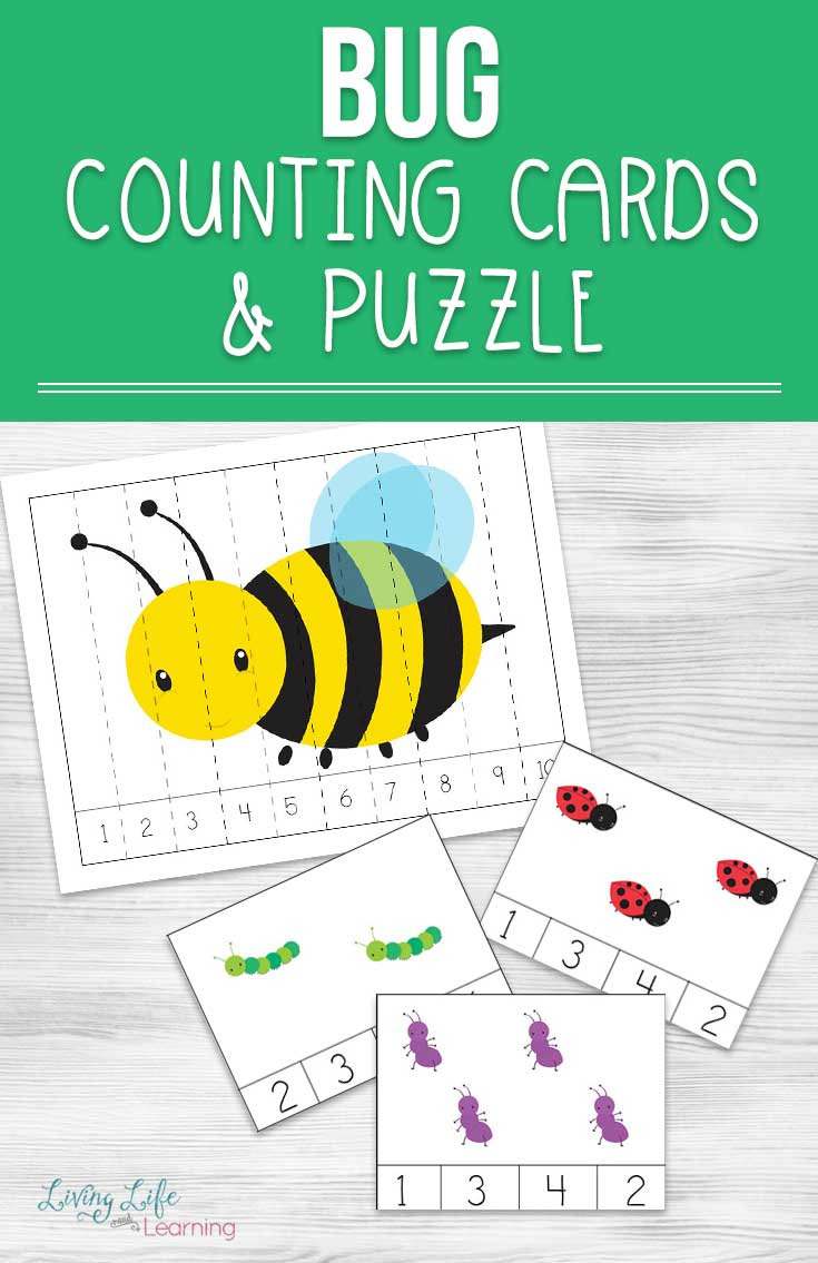 Spring Themed Bug Counting Cards And Puzzles For Teaching Kids - Printable Bug Puzzles