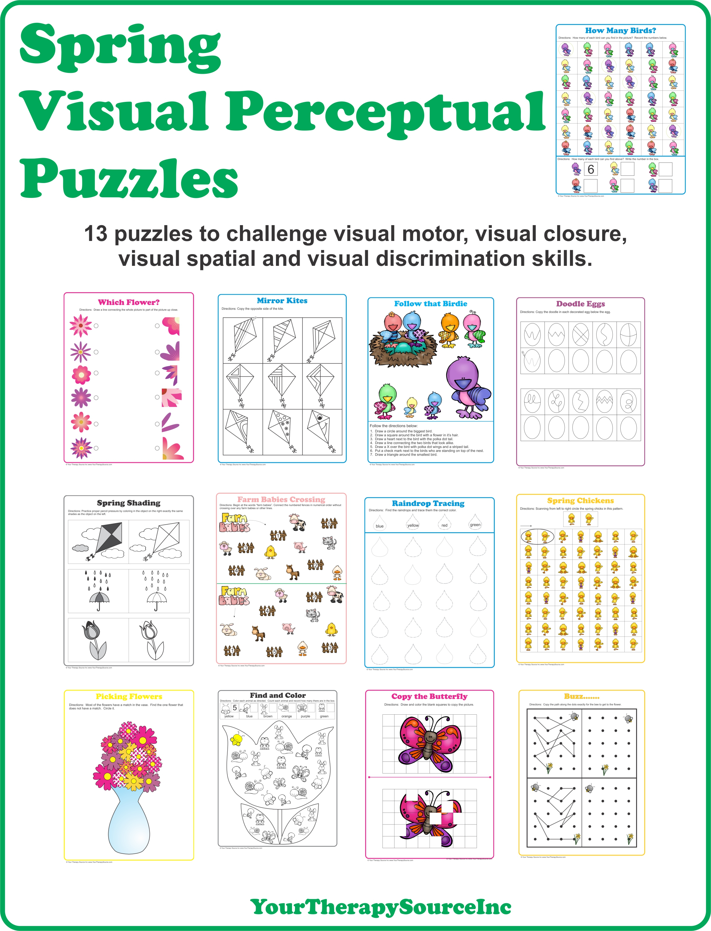 Spring Visual Perceptual Puzzles - Your Therapy Source - Printable Spring Puzzle