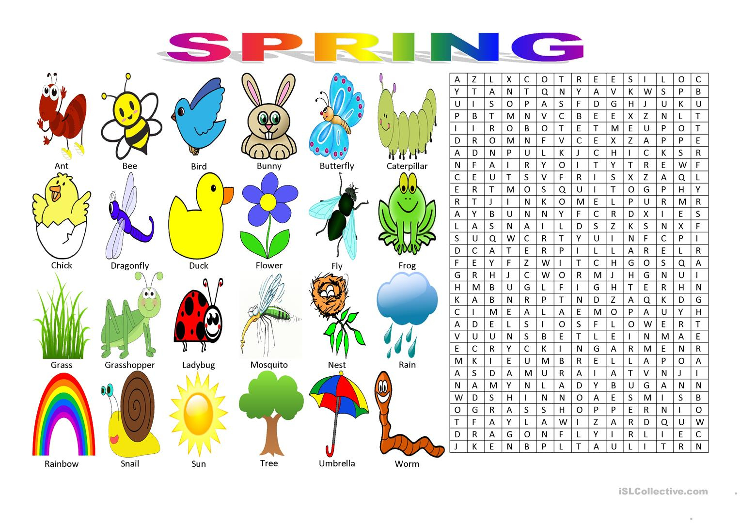 Spring Vocabulary (Wordsearch Puzzle) Worksheet - Free Esl Printable - Printable Spring Puzzles