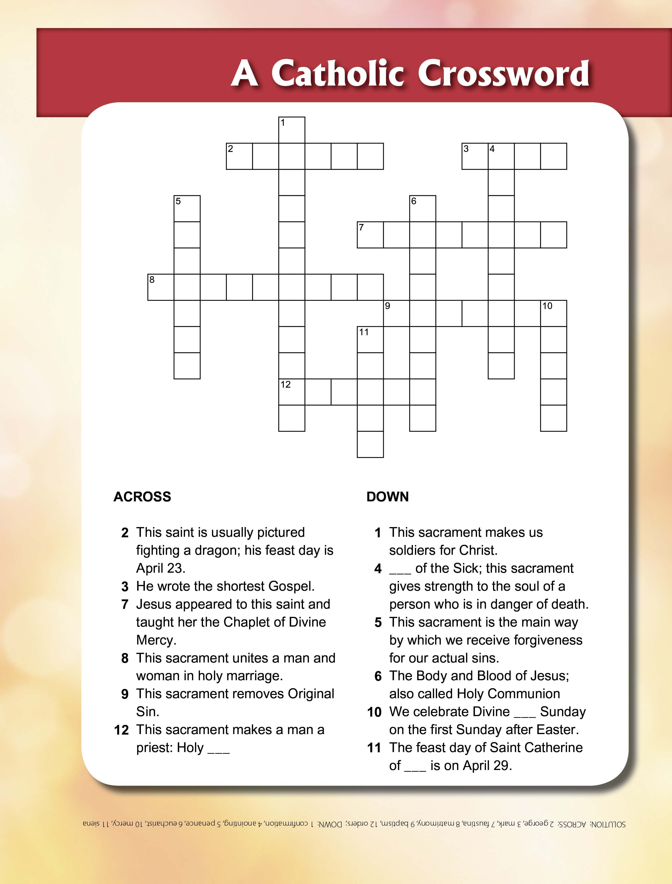 St George & Sacraments Crossword - | Printable Activities For Kids - Religion Crossword Puzzles Printable