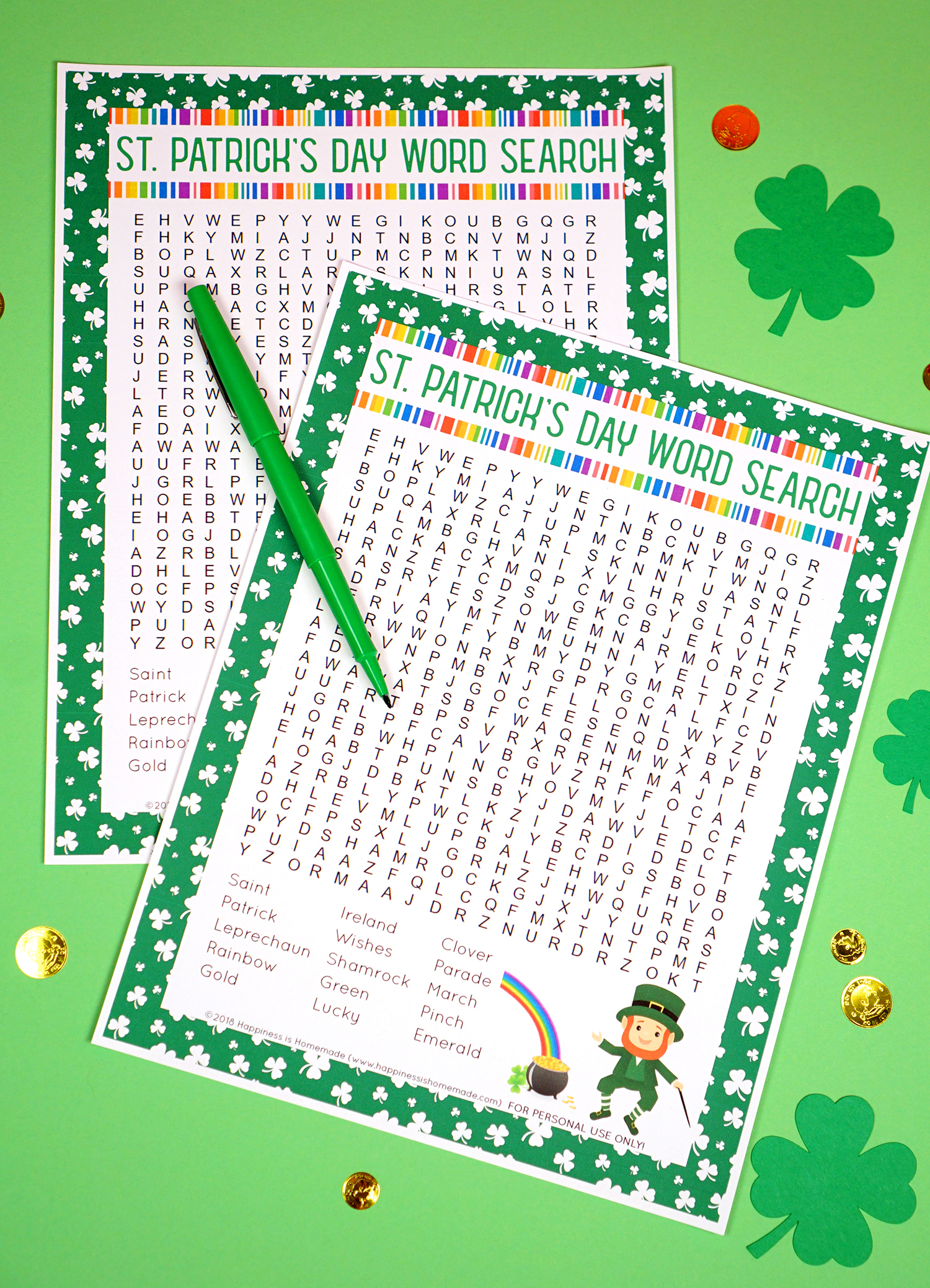 St. Patrick's Day Word Search Printable - Happiness Is Homemade - Free Printable St Patrick's Day Crossword Puzzles
