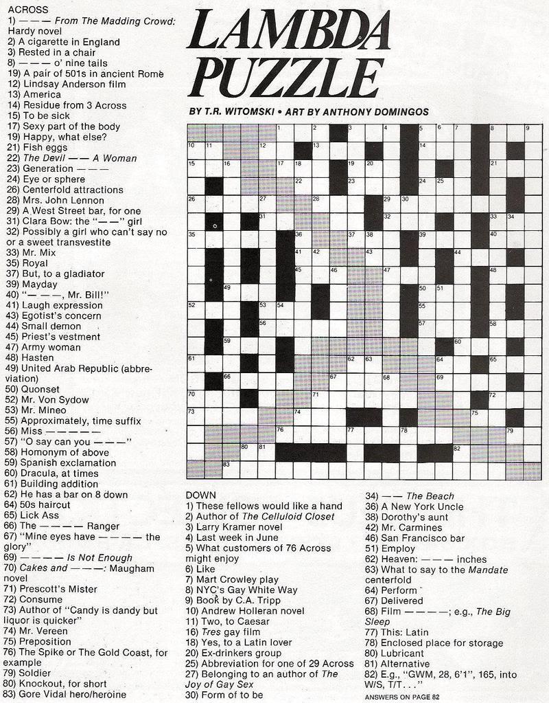 Stinkylulu: Gay Pride Crossword Puzzle (Homo Heritage Fridays) - Printable Crossword Puzzles Entertainment