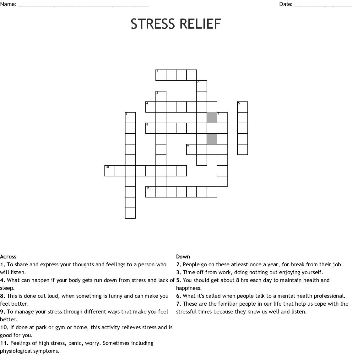 Stress Relief Crossword - Wordmint - Printable Stress Management Crossword Puzzle