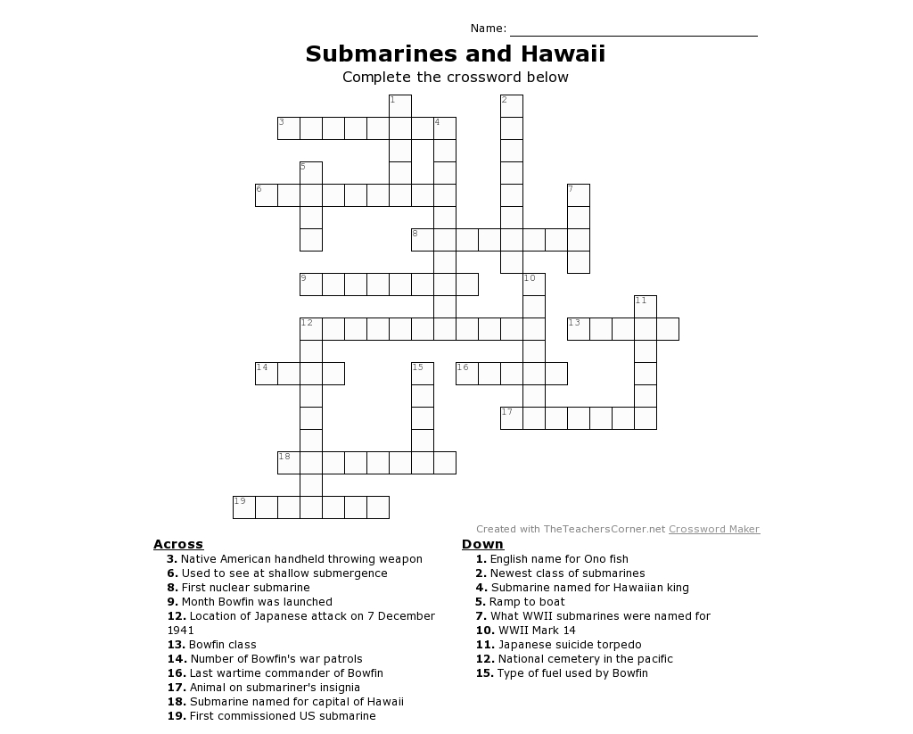 Submarine Printable Crossword Puzzle For All Ages! Whether You Have - Printable Crossword Puzzles For December 2017