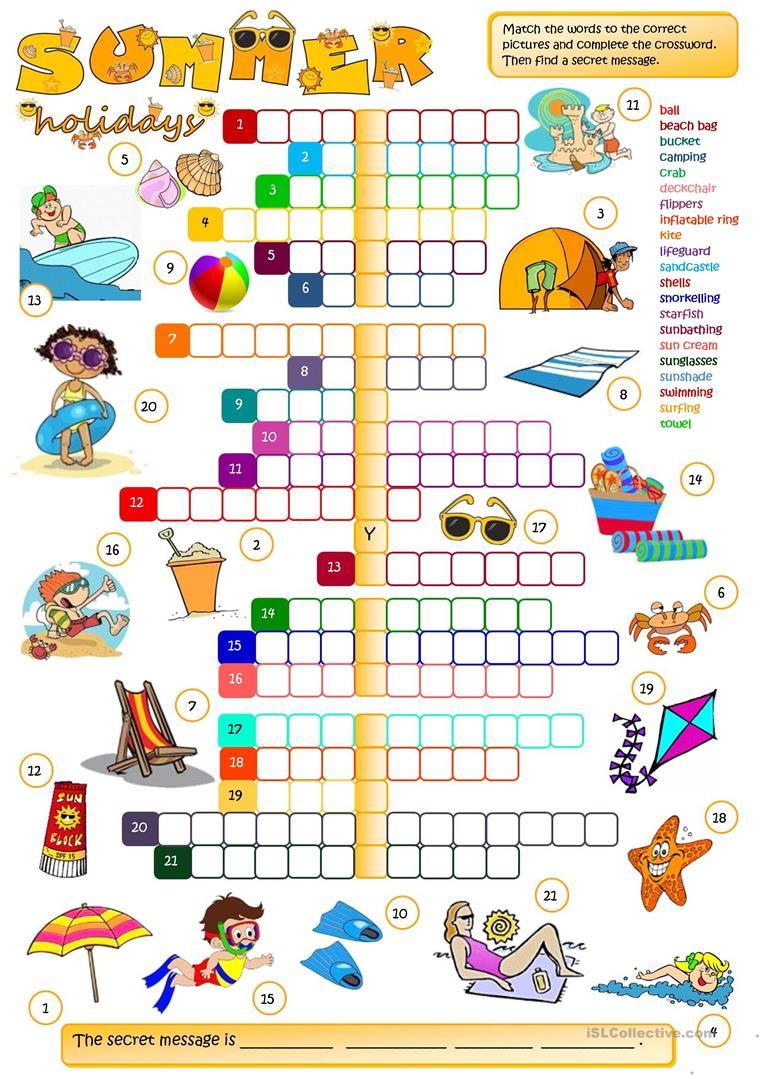 Summer Holidays - Crossword Worksheet - Free Esl Printable - Summer Crossword Puzzle Printable