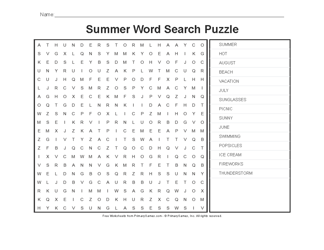 Summer Worksheets: Summer Word Search Puzzle - Primarygames - Play - Free Printable Puzzle Worksheets