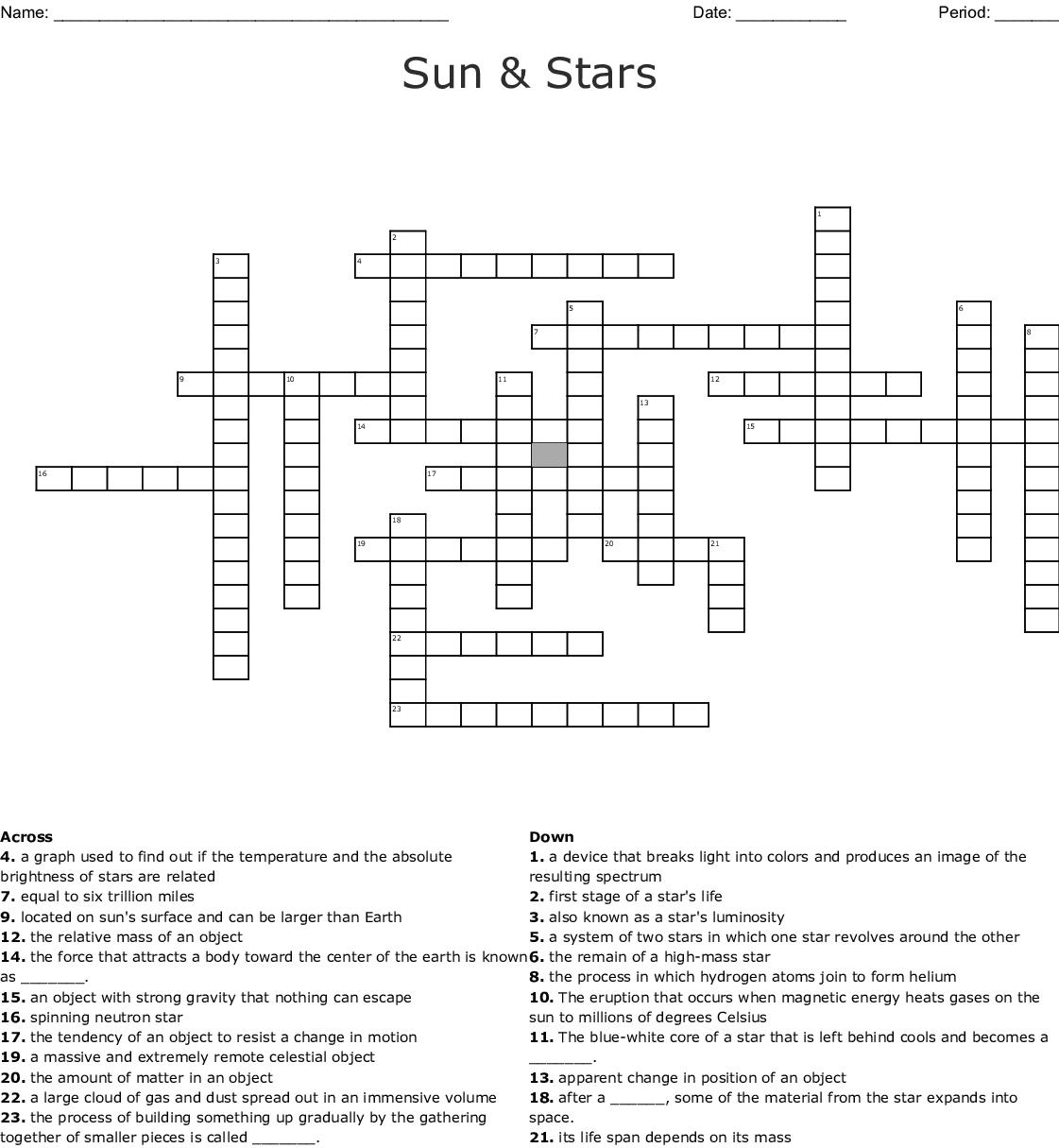 Sun & Stars Crossword - Wordmint - Star Crossword Puzzles Printable