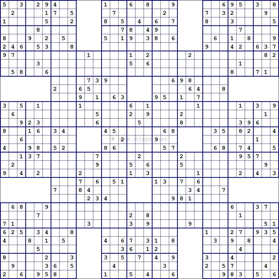 Super Samurai Sudoku 13 Grids | Sudoku | Pinterest | Sudoku Puzzles - Printable Sudoku Puzzle Grids