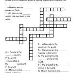 "Superlative Adjectives Worksheet   ""in The World"" Crossword Puzzle   Adjectives Crossword Puzzle Printable"