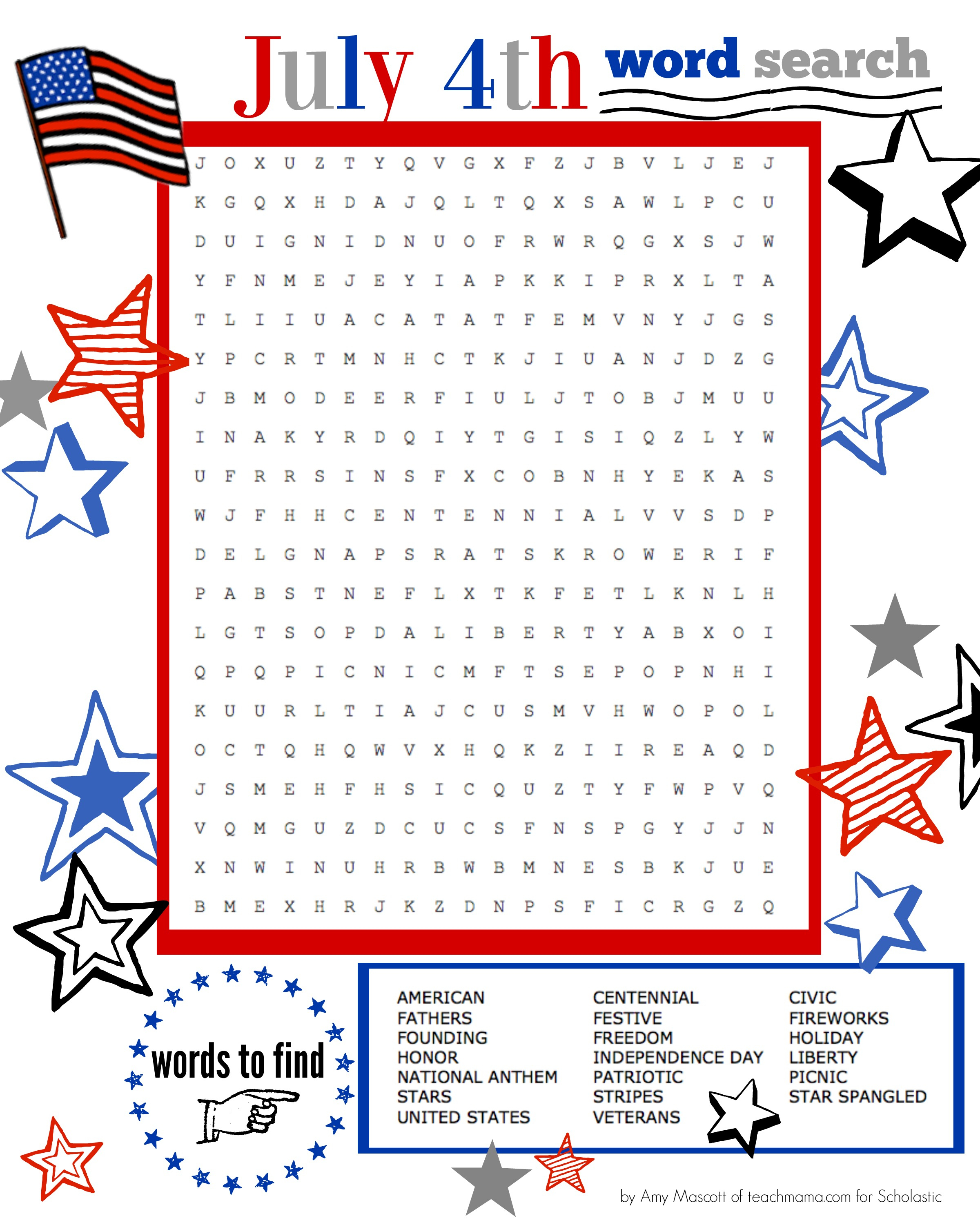Superstar Celebration: July 4Th Word Search Printable | Scholastic - Printable Fourth Of July Crossword Puzzles