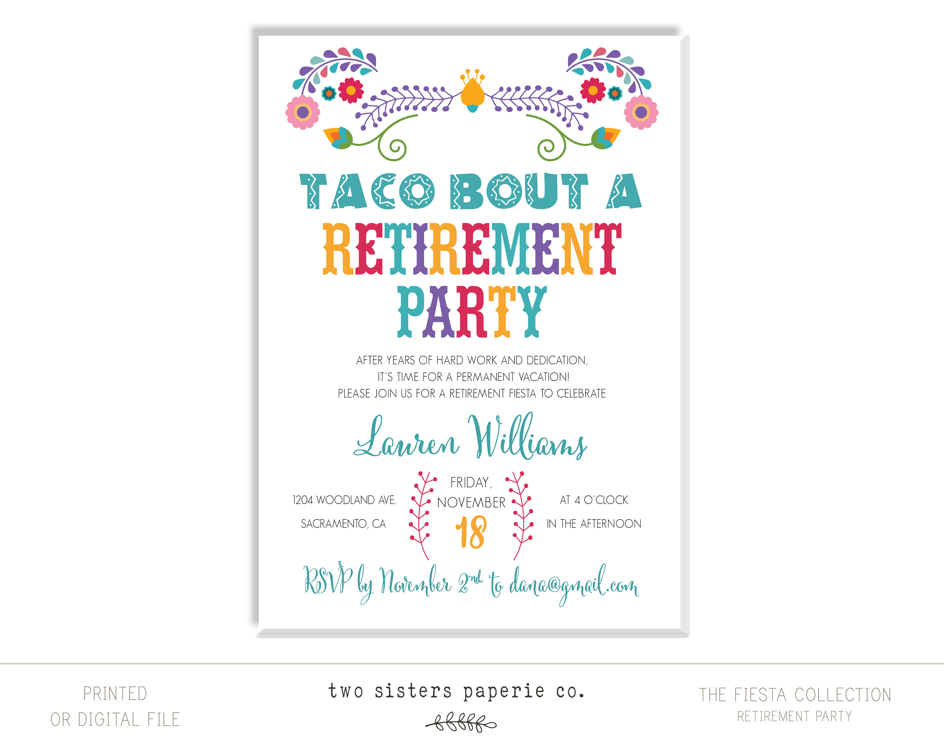 Taco Bout A Retirement Party Invitation Fiesta Collection | Etsy - Printable Dropdown Puzzles