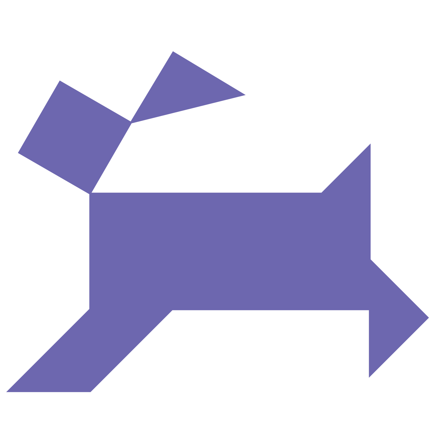 Tangram Dog Shape And Solution | Free Printable Puzzle Games - Printable Dog Puzzle
