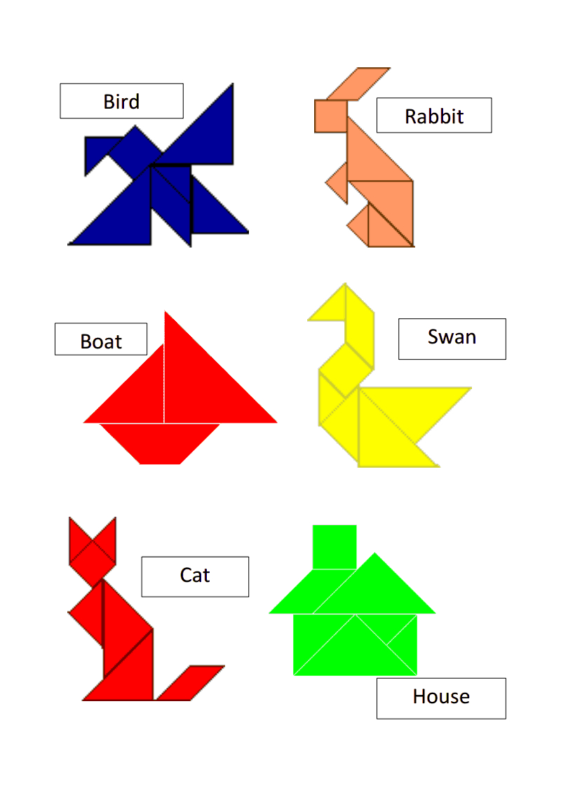 Tangram Templates.pdf   Math   Tangram Puzzles, Math Games, Puzzle - Printable Tangram Puzzles And Solutions
