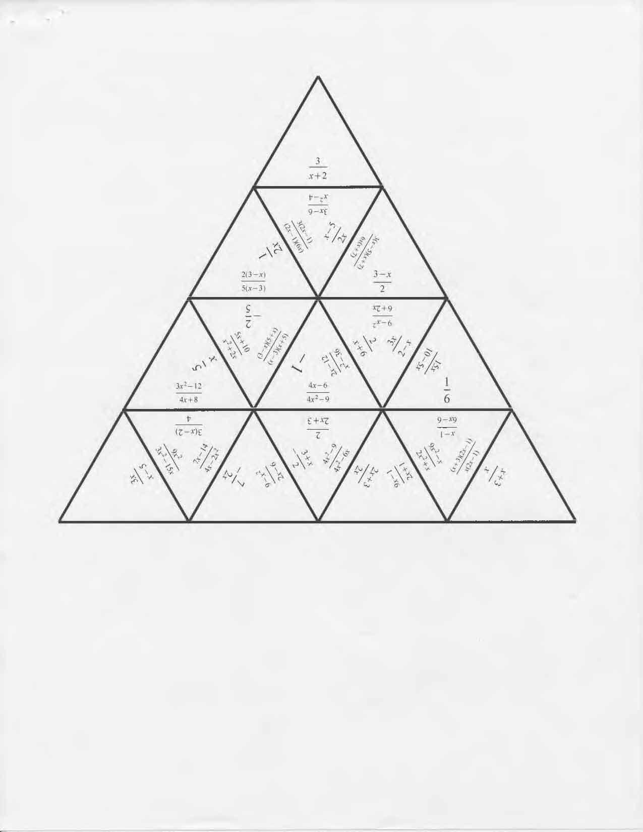 Tarsia Puzzle Simplify Rational Expressions | Algebra | Simplifying - Printable Tarsia Puzzles English