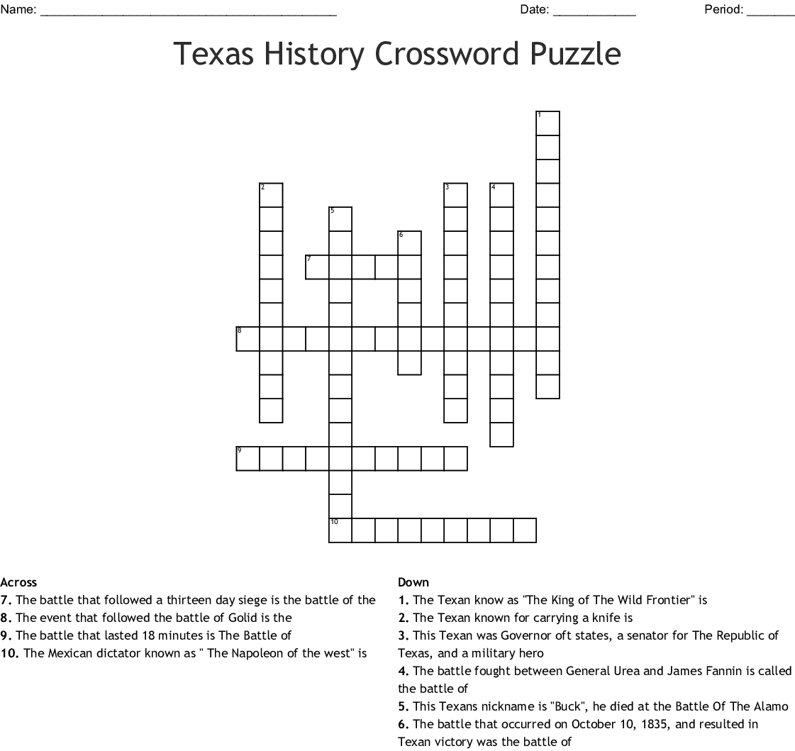 Texas History Crossword Puzzle Crossword - Wordmint - Printable History Crossword Puzzles