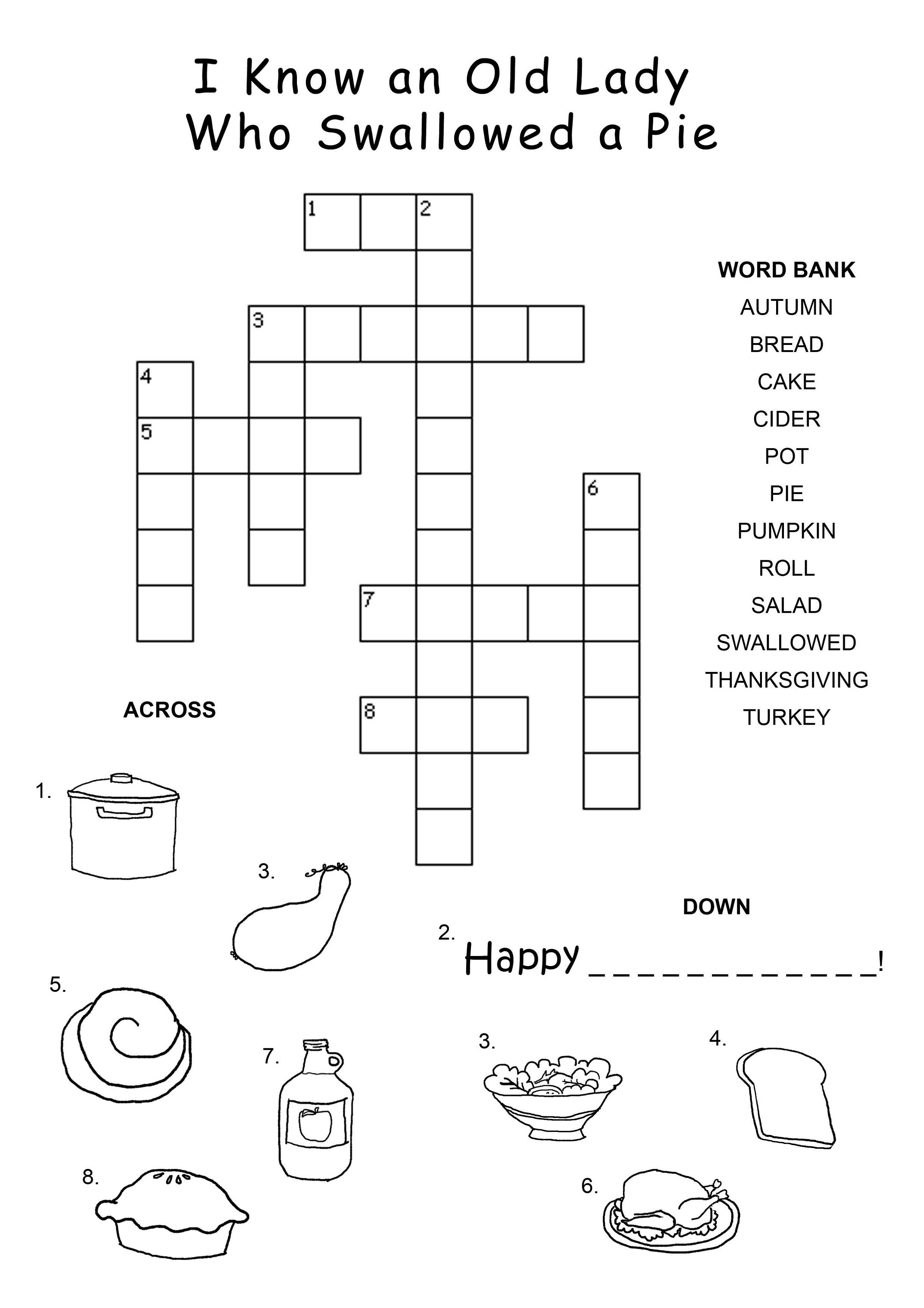 Thanksgiving Crossword Puzzle - Best Coloring Pages For Kids - Printable Thanksgiving Crossword Puzzles