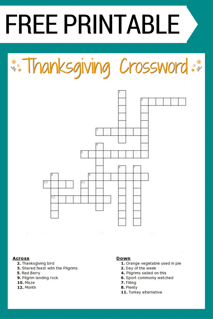 Thanksgiving Crossword Puzzle Free Printable - Printable Crossword Puzzles Printable