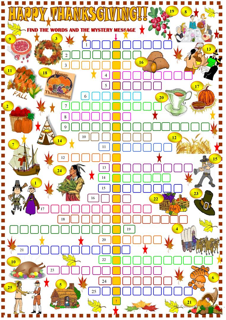 Thanksgiving: Crossword Puzzle Worksheet - Free Esl Printable - Free Thanksgiving Crossword Puzzles Printable