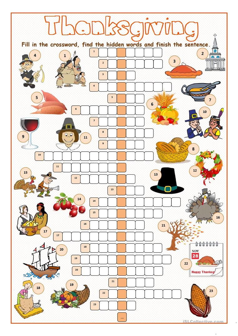 Thanksgiving Crossword Puzzle Worksheet - Free Esl Printable - Printable Thanksgiving Puzzle