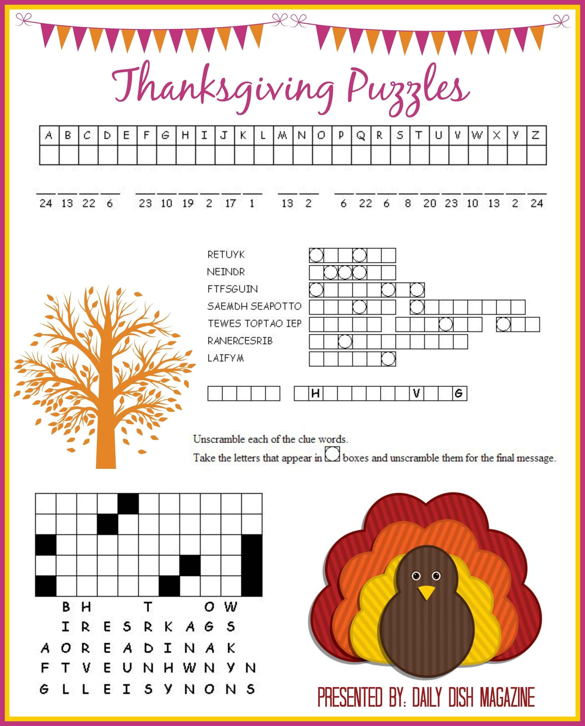 Thanksgiving Puzzles Printables | *holidays We Celebrate - Printable Thanksgiving Puzzle