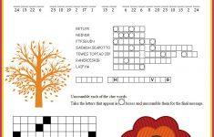 Thanksgiving Crossword Puzzle Printable