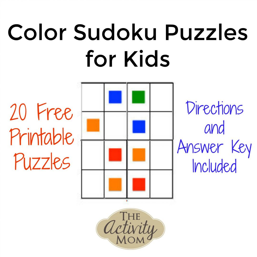 The Activity Mom - Color Sudoku Puzzles For Kids - The Activity Mom - Printable Sudoku Puzzle With Answer Key