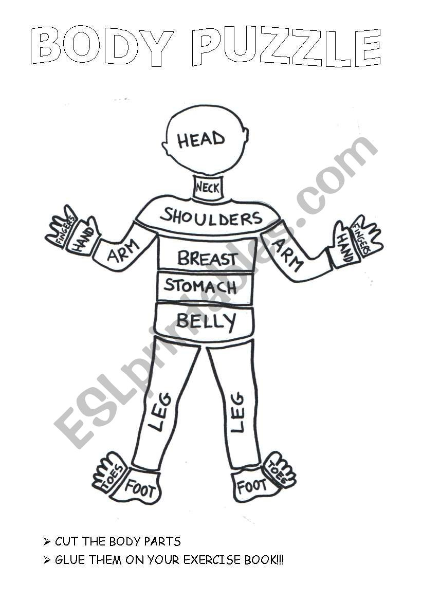 The Crazy Body Puzzle - Esl Worksheetlaretta.77 - Printable Body Puzzle