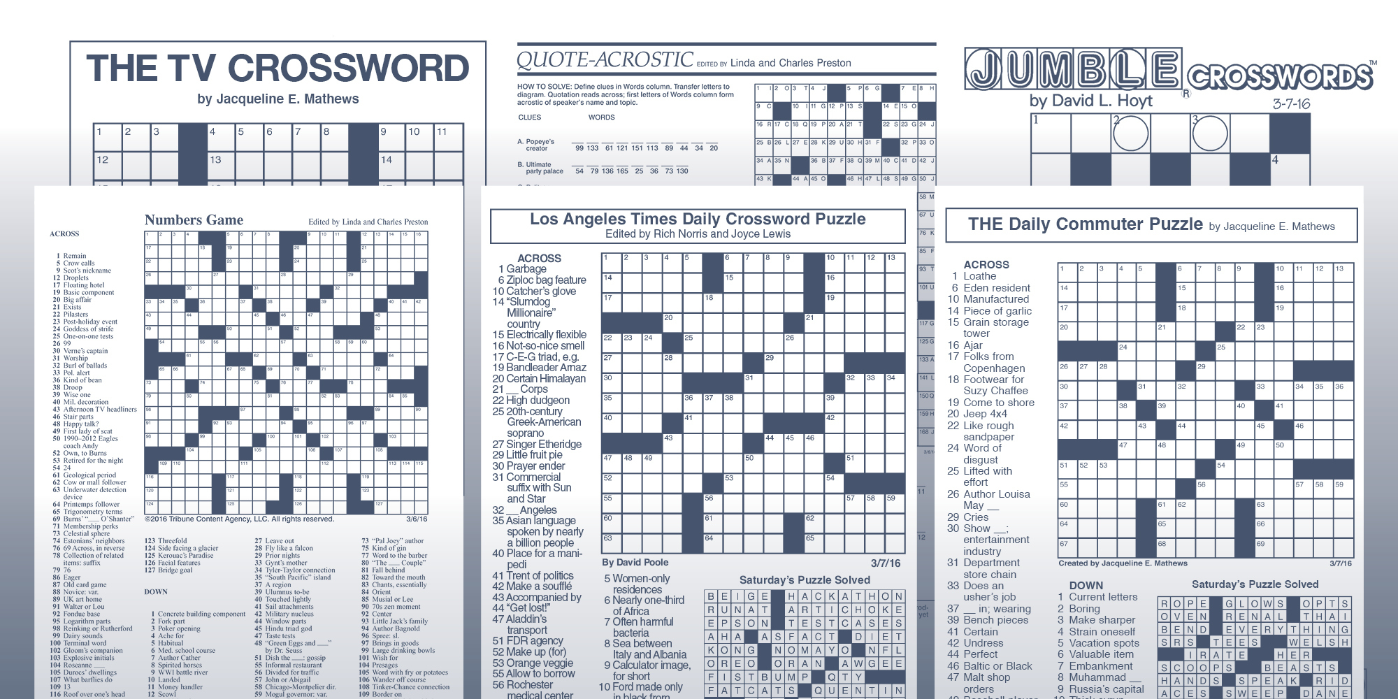 The Daily Commuter Puzzlejackie Mathews | Tribune Content Agency - Jacqueline E Mathews Printable Crossword Puzzles