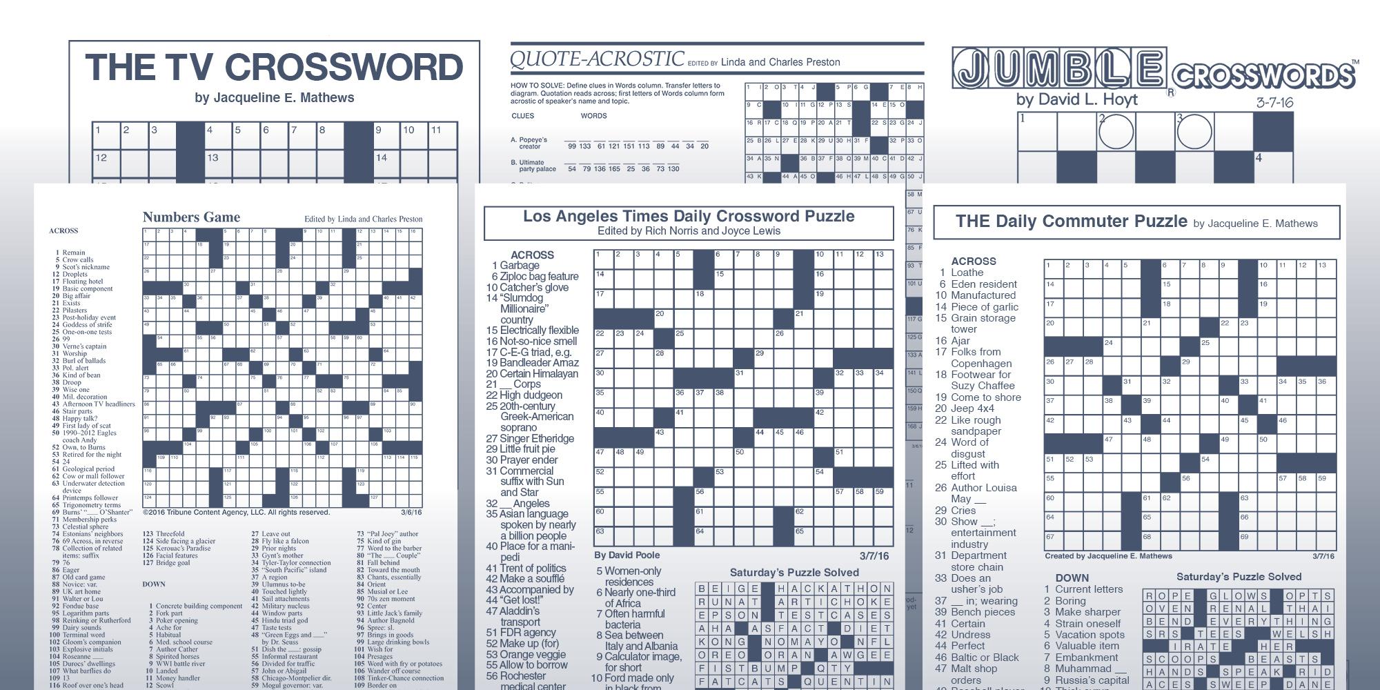 The Daily Commuter Puzzlejackie Mathews   Tribune Content Agency - Printable Crossword Puzzles By Jacqueline Mathews