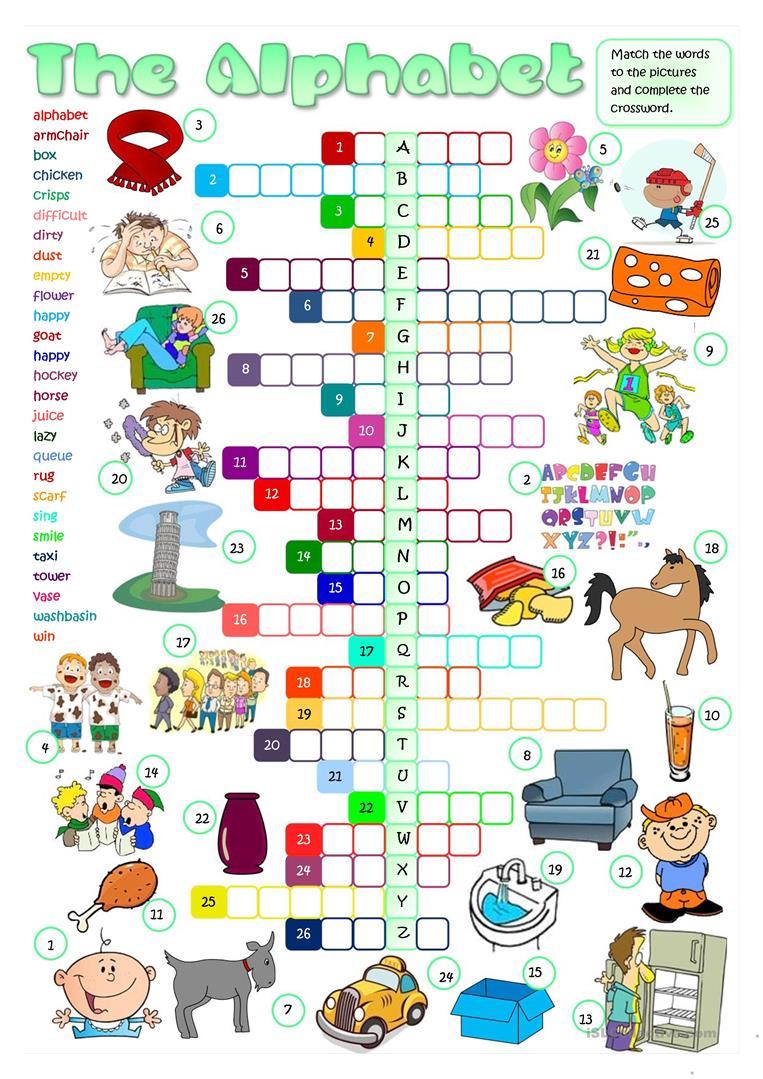 The English Alphabet - Crossword Worksheet - Free Esl Printable - Printable Crosswords To Learn English