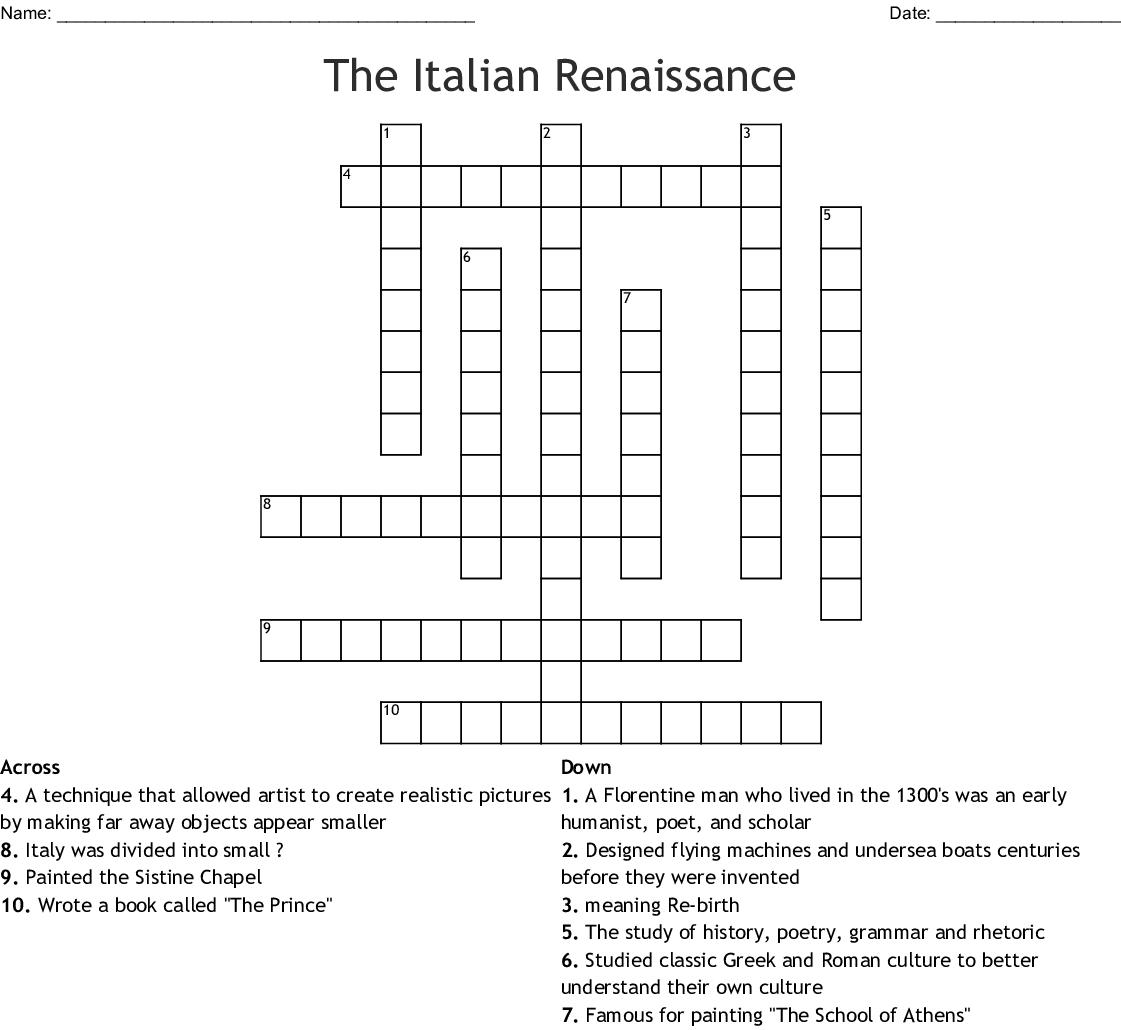 The Italian Renaissance Crossword - Wordmint - Free Printable Italian Crossword Puzzles