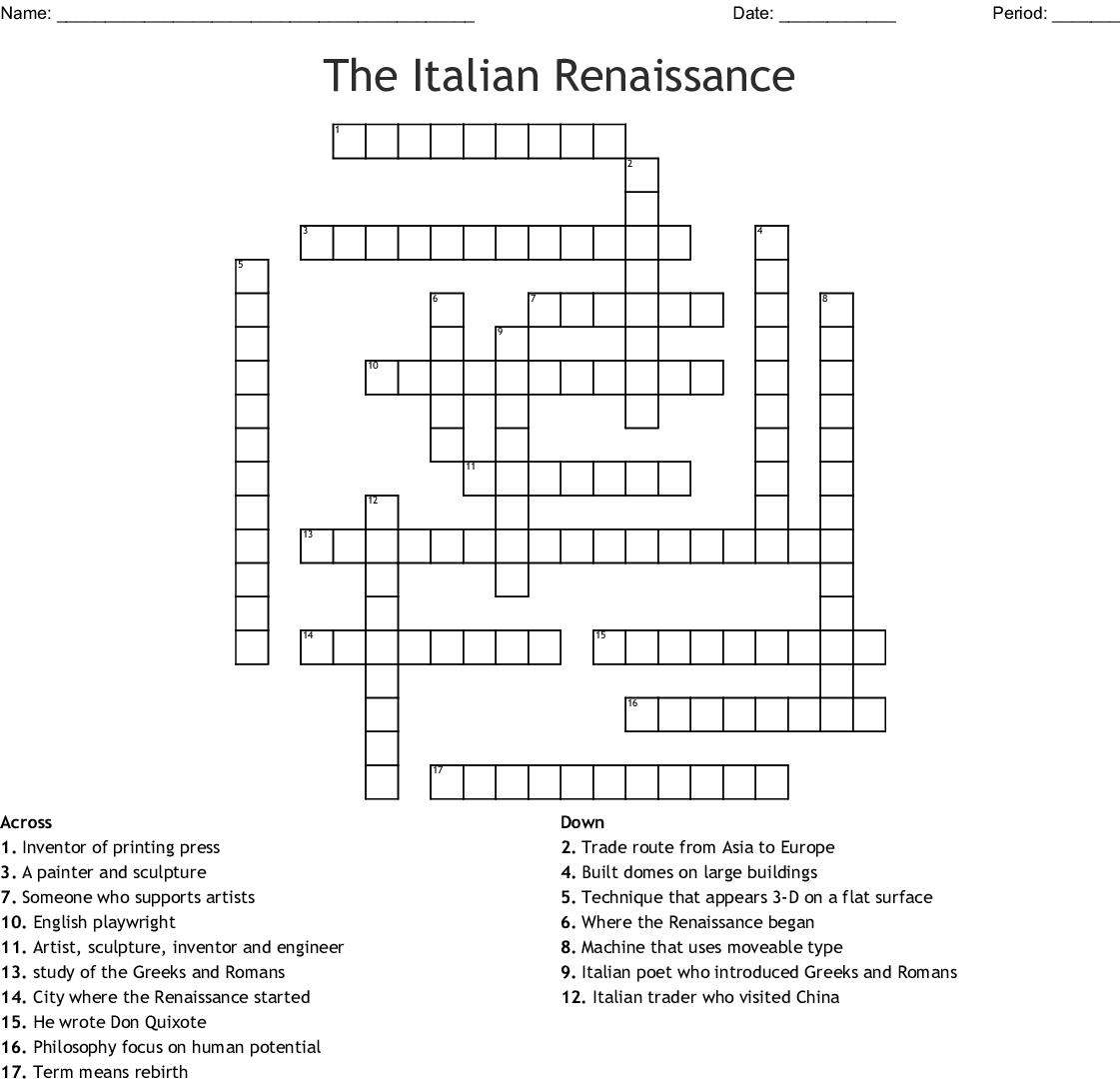 The Italian Renaissance Crossword - Wordmint - Printable Italian Crossword Puzzles