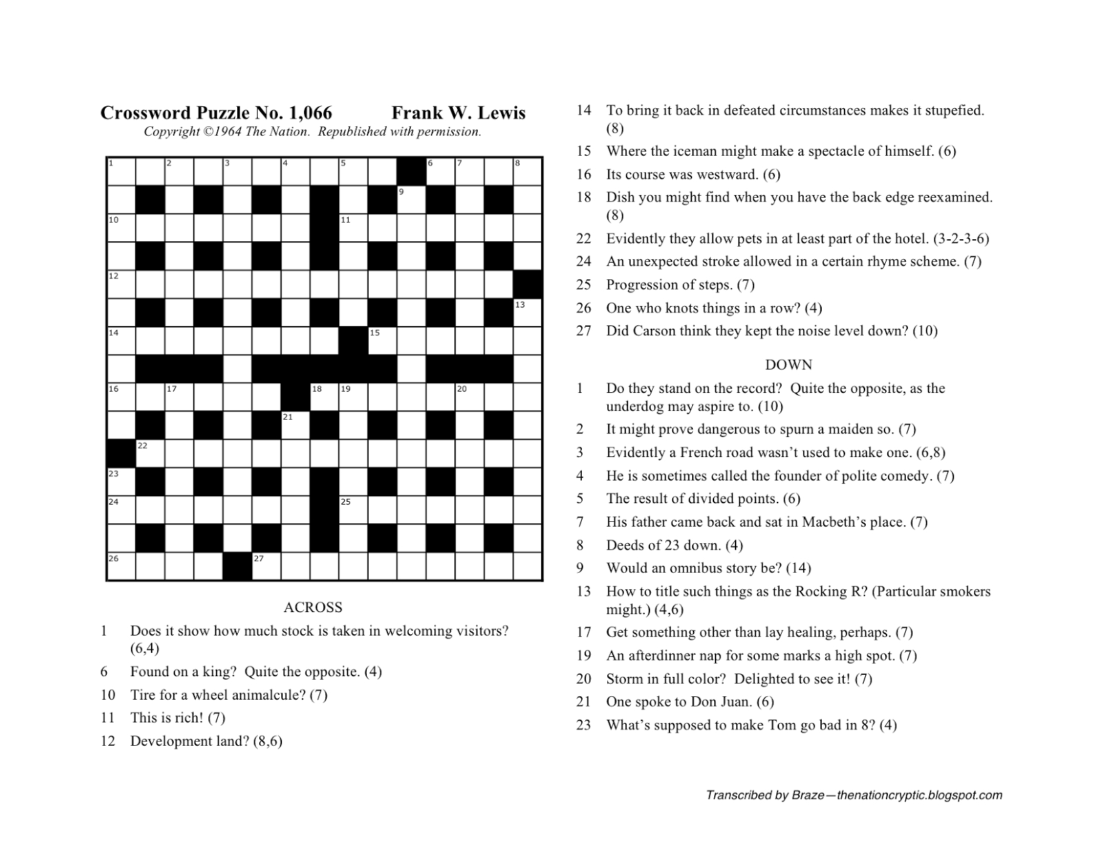 The Nation Cryptic Crossword Forum: Nat Hentoff (Puzzle No. 1,066) - Printable Wall Street Journal Crossword Puzzle