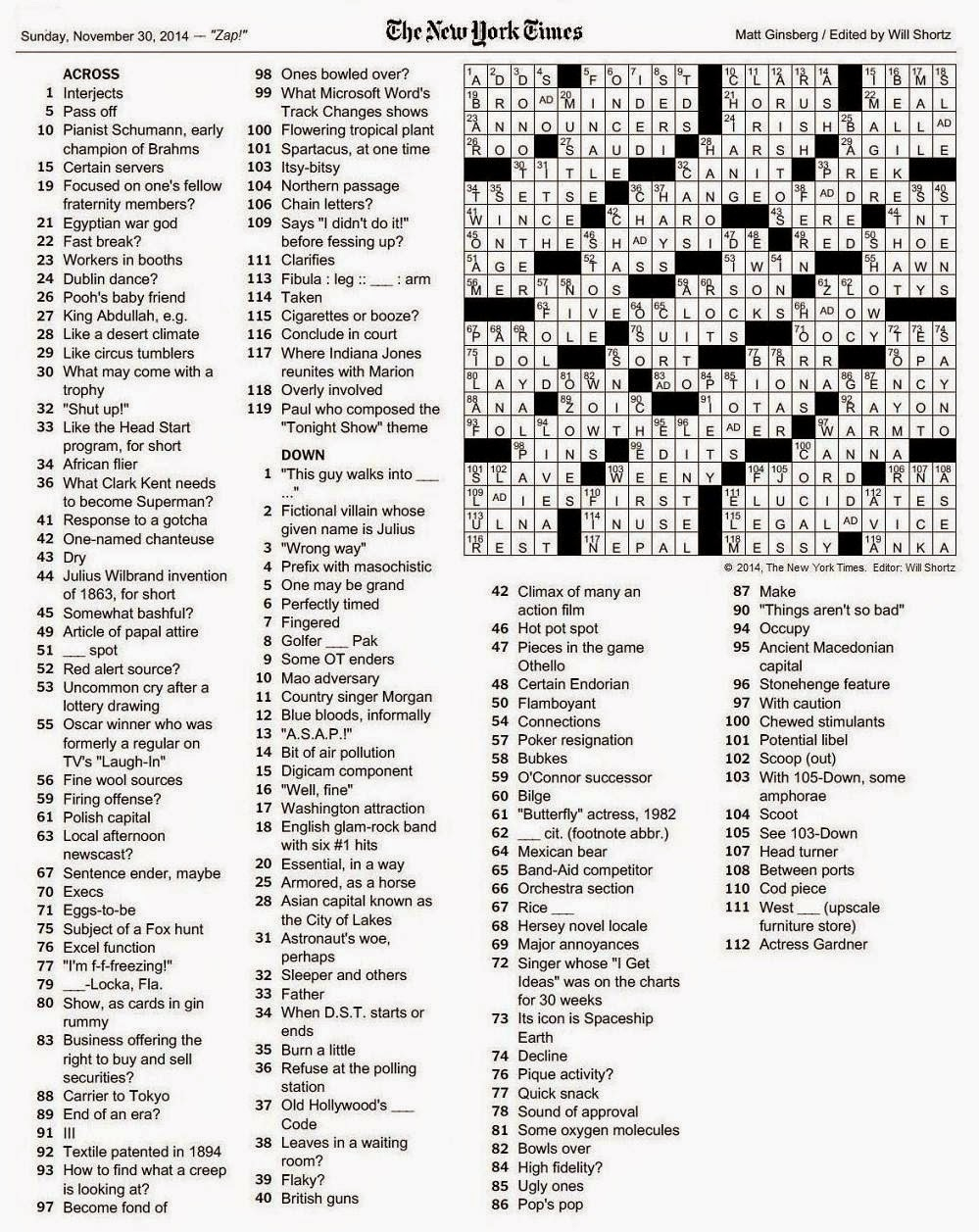The New York Times Crossword In Gothic: 11.30.14 — Zap! - La Times Crossword Printable Version