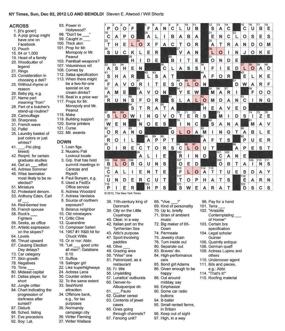 The New York Times Crossword In Gothic: 12.02.12 — Lo And Behold - Free Printable New York Times Sunday Crossword Puzzles