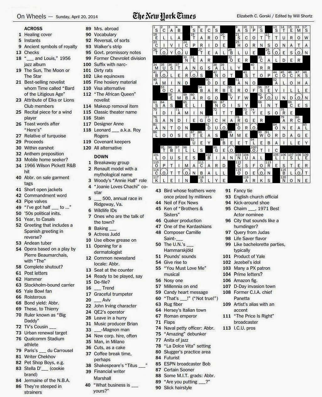 The New York Times Crossword In Gothic: April 2014 - La Times Printable Crossword 2014