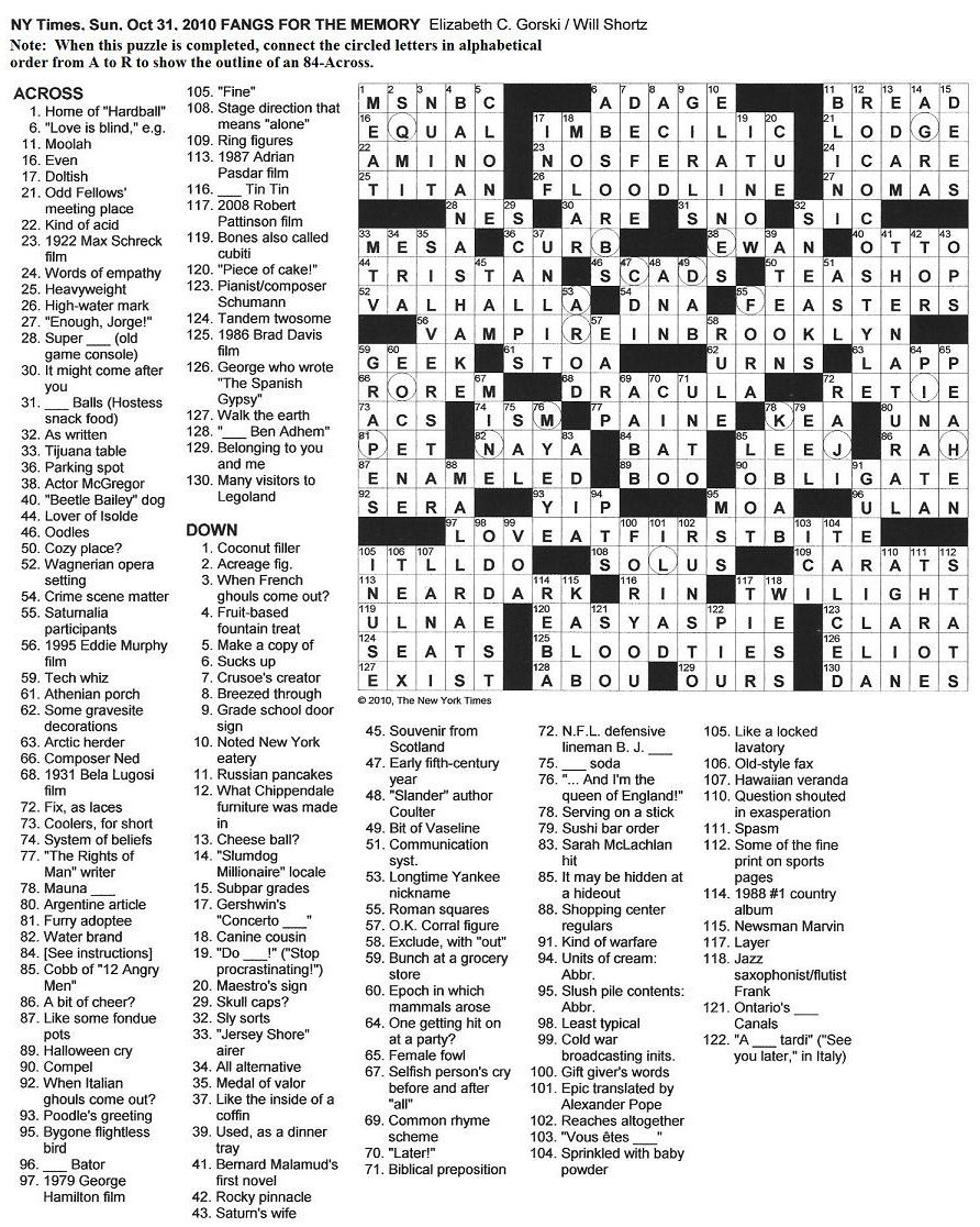 The New York Times Crossword In Gothic: October 2010 - Printable Crossword Puzzles New York Times