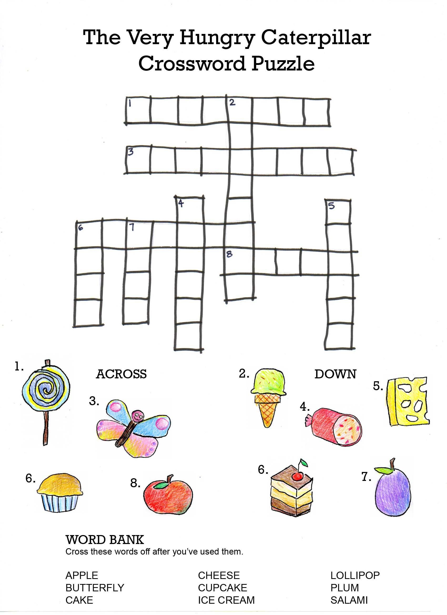 The Very Hungry Caterpillar Crossword | Projects To Try | Hungry - Free Printable Italian Crossword Puzzles