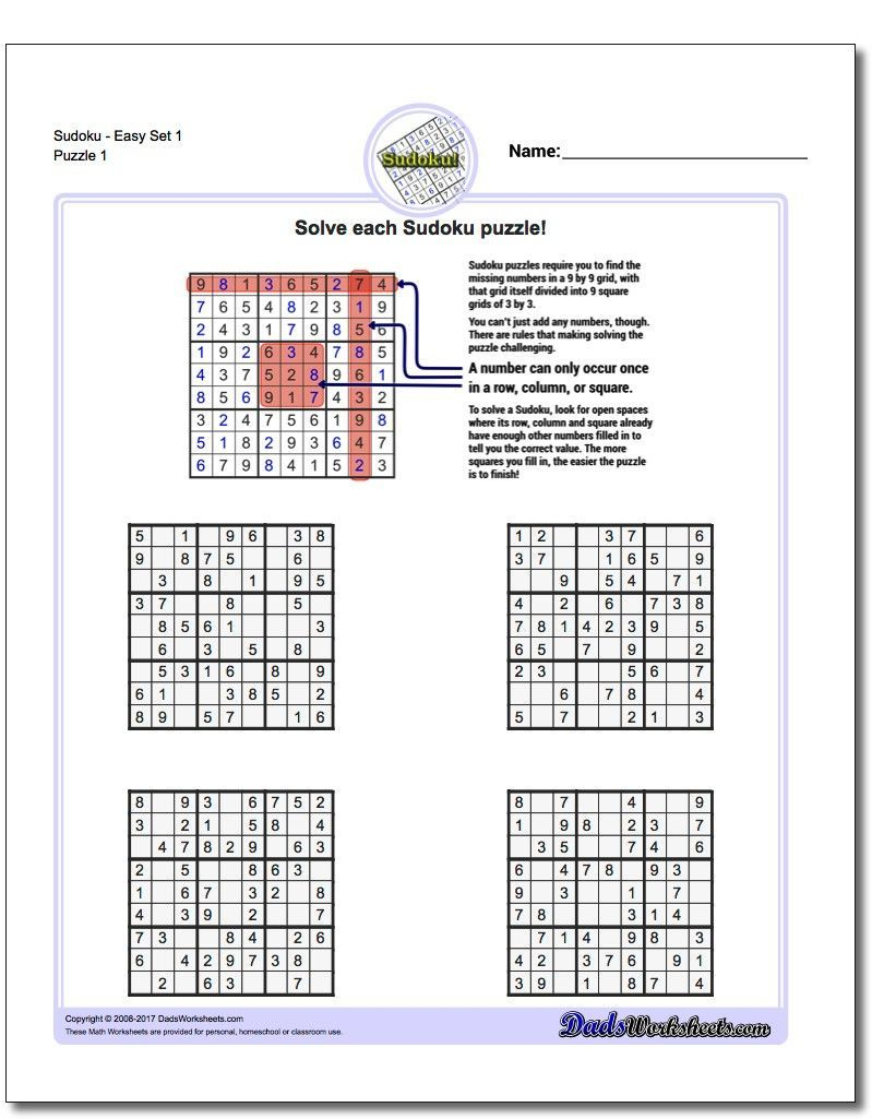 These Printable Sudoku Puzzles Range From Easy To Hard, Including - Printable Sudoku Puzzles Easy #2