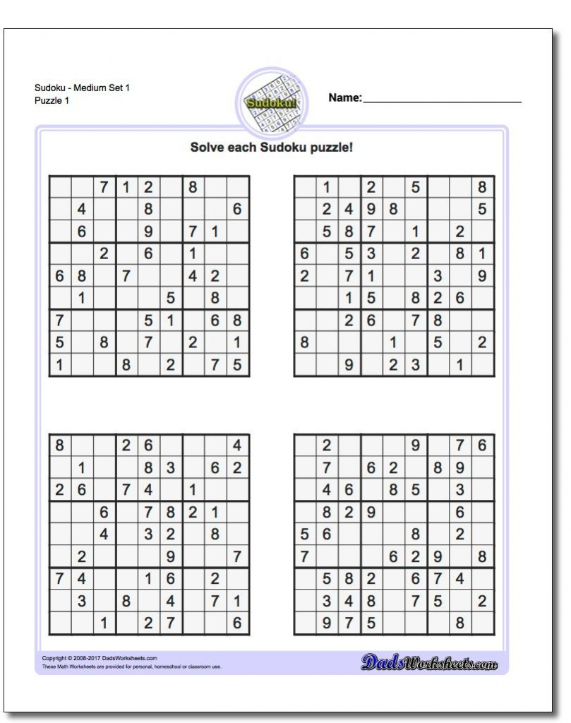 These Printable Sudoku Puzzles Range From Easy To Hard, Including - Printable Sudoku Puzzles For Adults