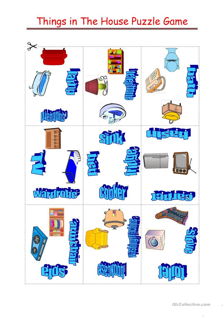 Things In The House Puzzle Game Worksheet - Free Esl Printable - Printable House Puzzle