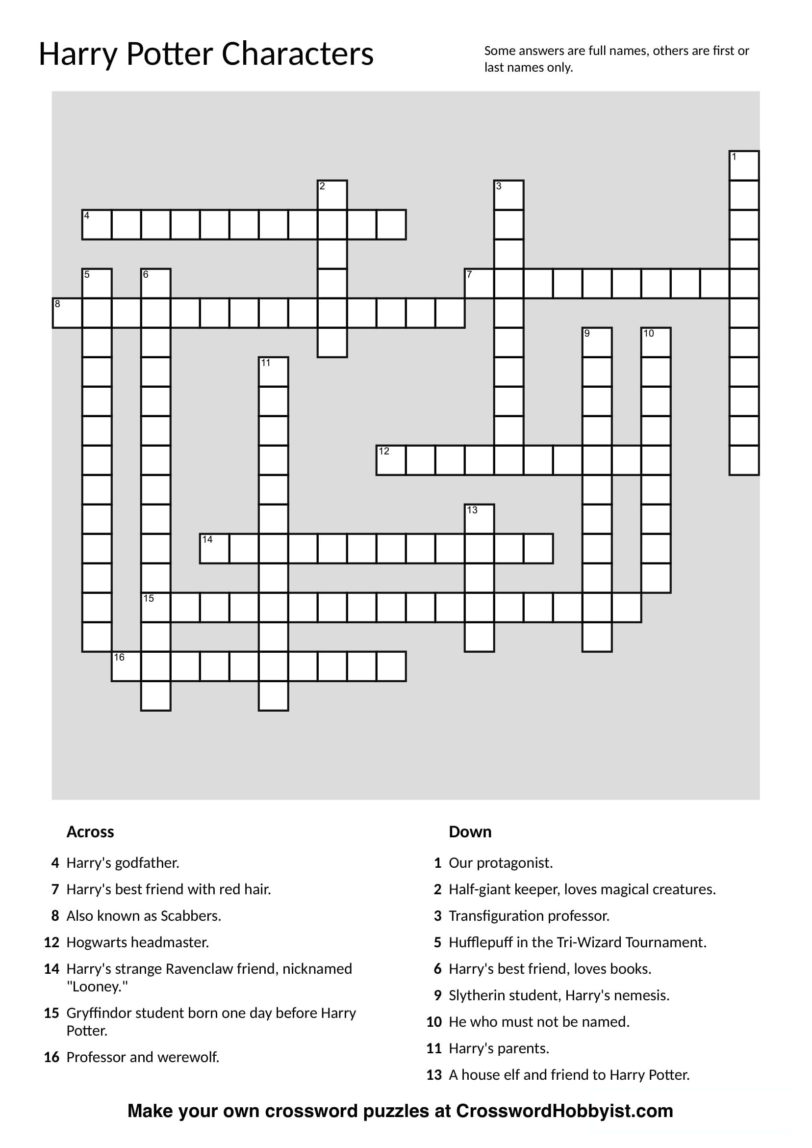 This Harry Potter Characters Crossword Puzzle Was Made At - Make Your Own Crossword Puzzle Printable