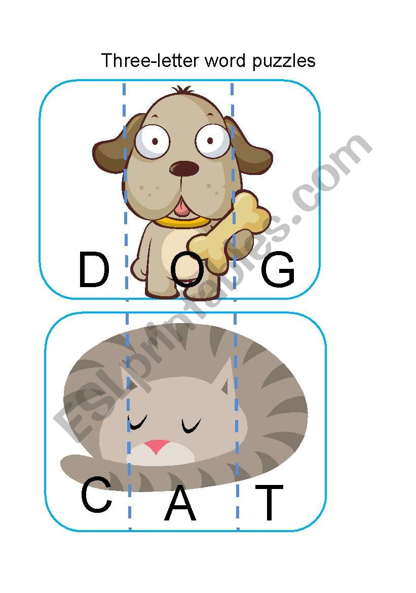 Three-Letter Word Puzzles - Esl Worksheetflaviatl - Printable Letter Puzzles