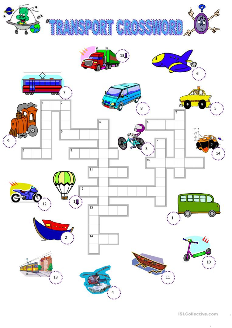 Transport Crossword Worksheet - Free Esl Printable Worksheets Made - Printable Transportation Puzzles