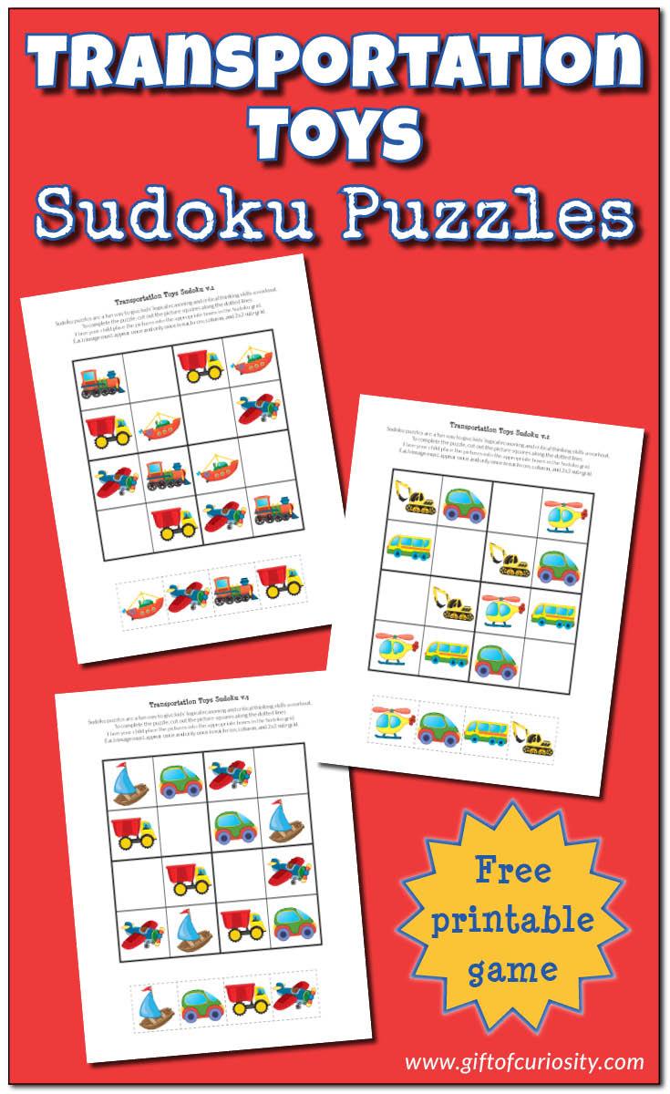 Transportation Toys Sudoku {Free Printable Games} - Gift Of Curiosity - Printable Transportation Puzzles